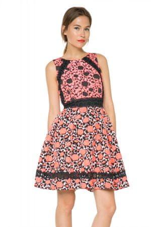 Desigual dámské květované šaty 36 růžová