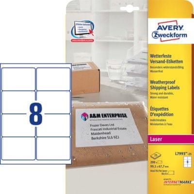 Avery Zweckform etikete L7993-25, 99,1 x 67,7 mm, odporneetikete L7993-25, 99,1 x 67,7 mm, odporne