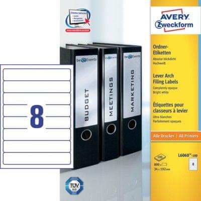 Avery Zweckform etikete L6060-100, 192 x 34 mm, za registratorje