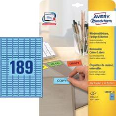 Avery Zweckform barvne etikete L6048-20, 25,4 x 10 mm, modre