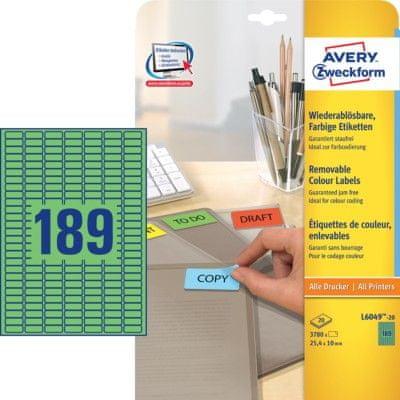 Avery Zweckform aarvne etikete L6049-20, 25,4 x 10 mm, zelenevery Zweckform L6049-20 25,4x10mm zelen