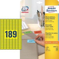 Avery Zweckform barvne etikete L6037-20, 25,4 x 10 mm, rumeneAvery Zweckform L6037-20 25,4x10mm rumen