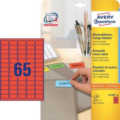 Avery Zweckform barvne etikete L4790-20, 38,1 x 21,2 mm, rdeče