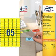 Avery Zweckform barvne etikete L4793-20, 38,1 x 21,2 mm, rumene