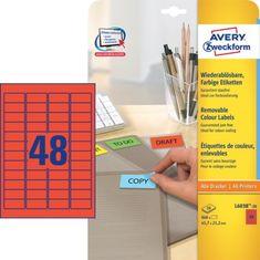 Avery Zweckform barvne etikete L6038-20, 45,7 x 21,2 mm, rdeče