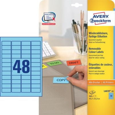 Avery Zweckform barvne etikete L6039-20, 38,1 x 21,2 mm, modre