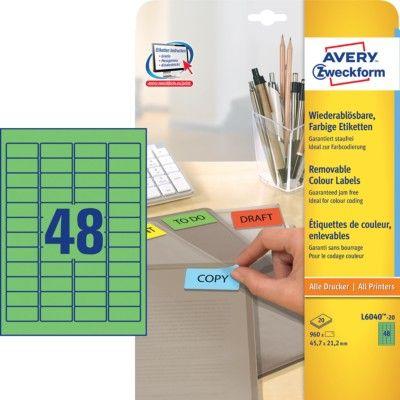Avery Zweckform barvne etikete L6040-20, 38,1 x 21,2 mm, zelene