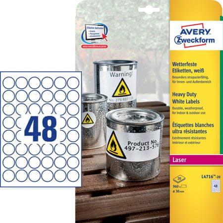 Avery Zweckform etikete L4716-20, 30 x 30 mm, odporne