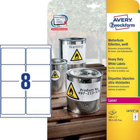 Avery Zweckform etikete L4715-20, 99,1 x 67,7 mm, odporne