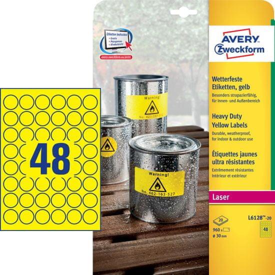 Avery Zweckform etikete L6128-20, 30 x 30 mm, žute, otporne