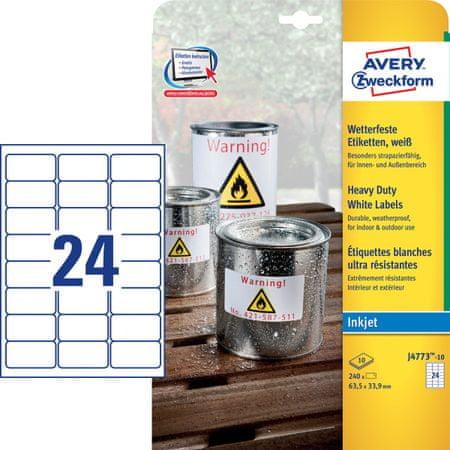 Avery Zweckform etikete J4773-10, 63,5 x 33,9 mm, bele, odporne