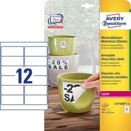 Avery Zweckform etikete L4776REV-20, 99,1 x 42,3 mm, bele, odporne