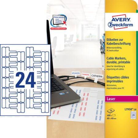 Avery Zweckform etikete L7950-20, 60 x 40 mm, za kable