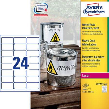 Avery Zweckform etikete L4773-100, 63,5 x 33,9 mm, odporne