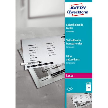 Avery Zweckform samolepilne folije 3480, 210 x 297 mm, 100 listov