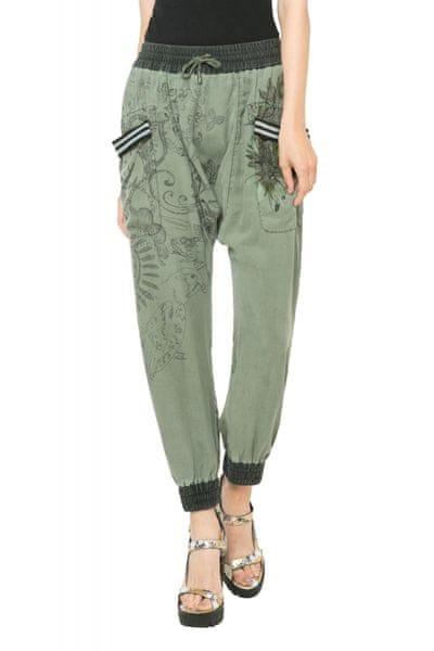 Desigual dámské kalhoty 32 zelená