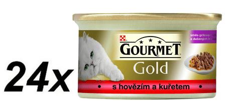 Gourmet Gold hovězí s kuřetem 24 x 85 g