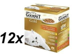 Gourmet Gold Macskaeledel, húsos+zöldségszószos, 12 x (8 x 85 g)