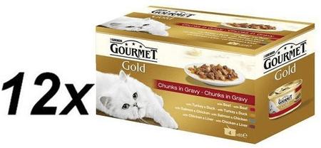 Gourmet Gold kousky masa ve šťávě multibalení 12 x ( 4x85g )