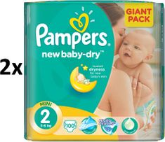 Pampers Pieluchy New Baby 2 Mini (3-6kg) Giant Pack - 200 szt.