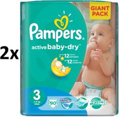 Pampers Active Baby 3 Midi (4-9kg) Giant Pack - 180 ks