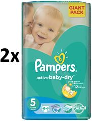 Pampers Active Baby 5 Junior (11-18kg) Giant Pack - 128 ks