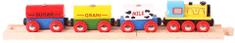 Bigjigs Rail Pociąg dostawczy, wagony z produktami spożywczymi + 2 szyny