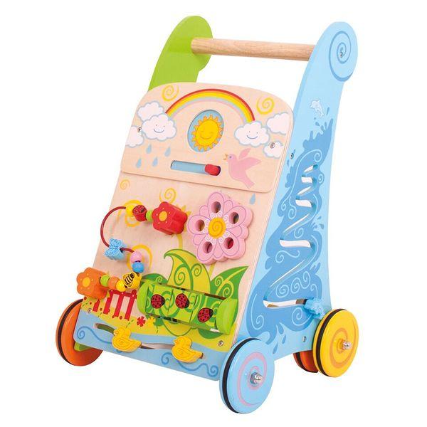 Bigjigs Toys Dřevěné aktivní chodítko zahrada