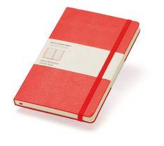 Moleskine beležka velika, črtasta, trdne platnice, rdeča