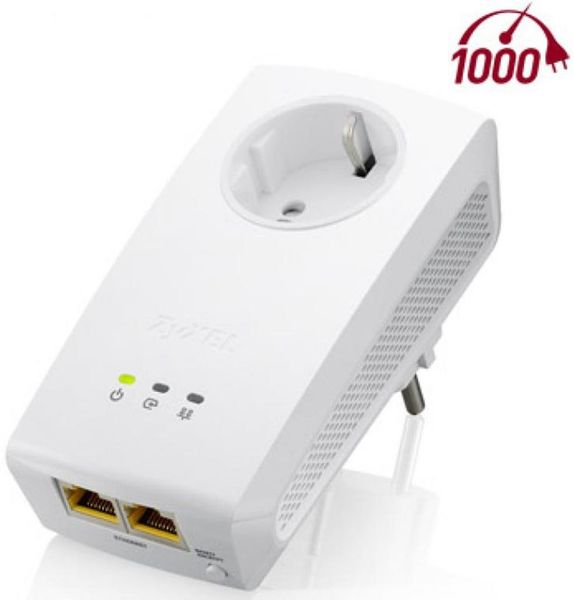 Zyxel 1000 Mbps Powerline Pass-Thru 2-Port Gigabit Ethernet Adapter (PLA5256)
