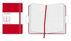 Moleskine beležka velika, karo, trde platnice, rdeča