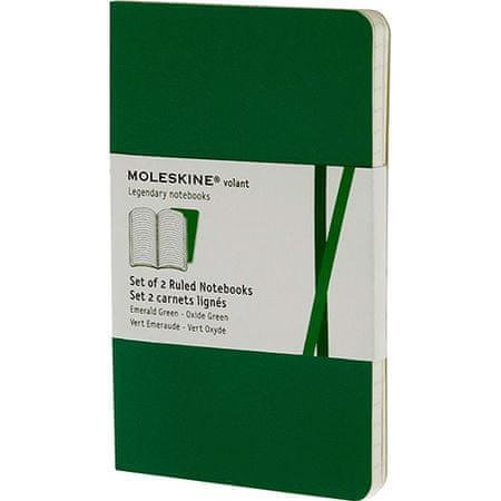 Moleskine beležka žepna, črtasta, mehke platnice, zelena - 2 kosa