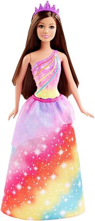 Mattel Księżniczka brunetka tęczowa dhm49