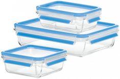 Emsa Clip&Close Ételtároló üvegedény szett, 3 db (0,5 l, 0,9 l, 2 l)