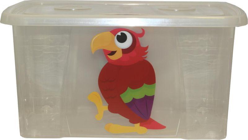 Mazzei Úložný box DEKOR - 44 litrů, dětský motiv čirý