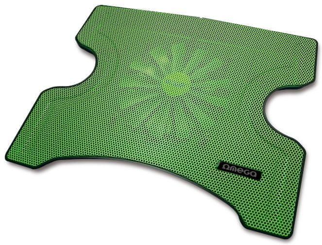 Omega Laptop Cooler PAD (FRIDGE), 16cm větrák, 2x USB port, zelený