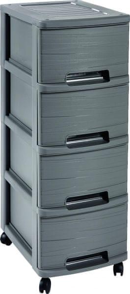 Curver Ribbon skříňka - 4 úložné boxy - šedá