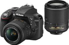 NIKON D3300 + AF-P 18-55mm VR + 55-200mm VR II Digitális fényképezőgép