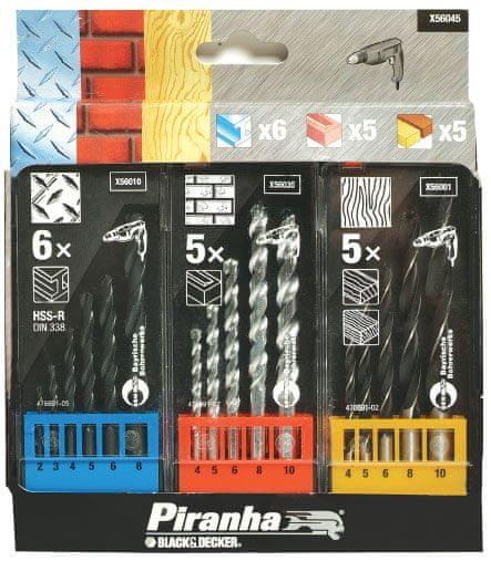Black+Decker 16-delni set svedrov za opeko, kovino, les, 2-10 mm (X56045)