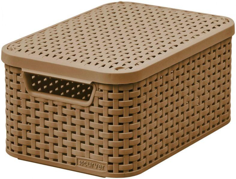 Curver Rattan Style box s víkem S sv. hnědý