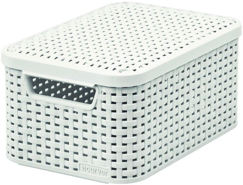 Curver Rattan Style box s víkem S smetanový