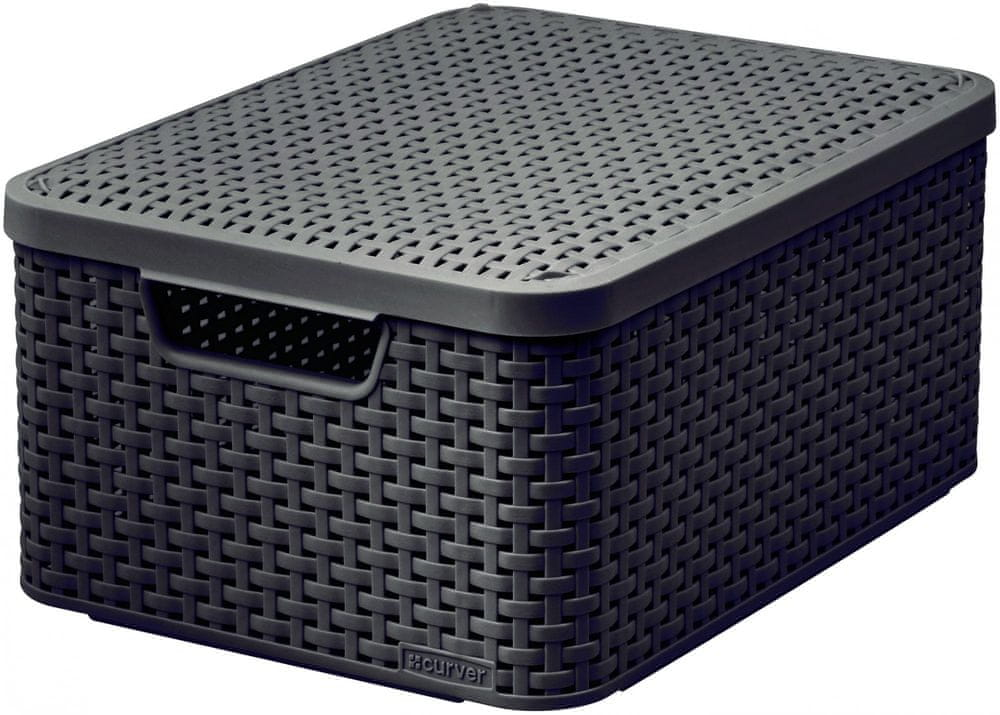 Curver Rattan Style box s víkem M tm. hnědý