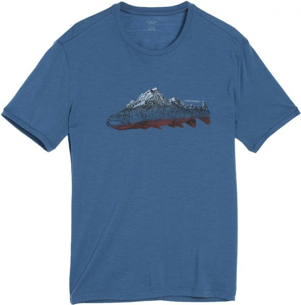 Icebreaker Mens Tech Lite SS Crewe Fin Peaks Shore XL