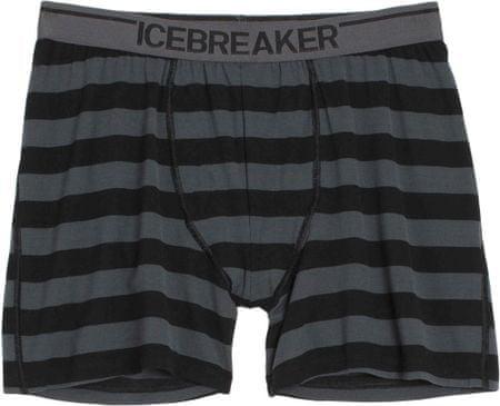 Icebreaker Mens Anatomica Boxers Stripe Black/Monsoon/White L