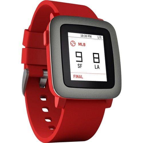 Pebble chytré hodinky Time, červené