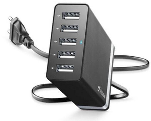 CellularLine Univerzální síťová nabíječka Energy Station, 5x USB, 8,2A, 40W, černá
