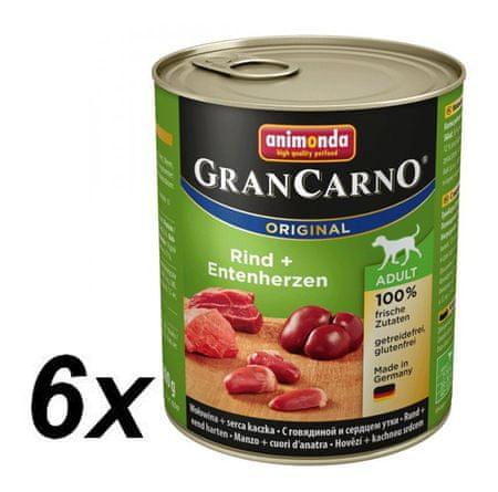 Animonda mokra hrana za odrasle pse Grancarno - govedina, račji srčki, 6 x 800 g