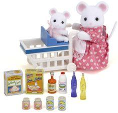 Sylvanian Families Mamka myška s nákupním vozíkem a myšičkou 2401