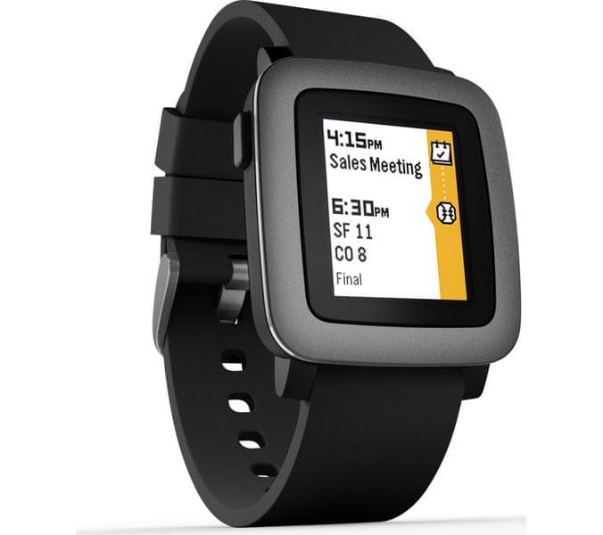 Pebble chytré hodinky Time, černé