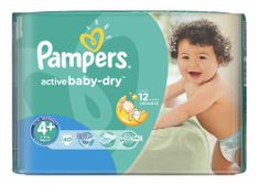 Pampers Pieluchy Active Baby Dry 4+ Maxi Plus (40 szt.)